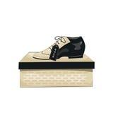 Elegant men's  shoes on the box. Stock Photos