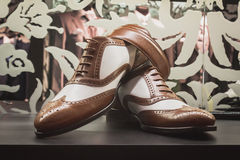 Elegant men shoes on display at Si' Sposaitalia in Milan, Italy Royalty Free Stock Image