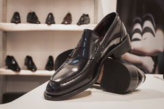 Elegant men shoes on display at Si' Sposaitalia in Milan, Italy Stock Images