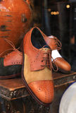 Elegant men shoes in a window store. Stock Images