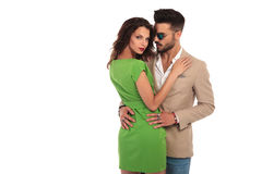 Elegant man and woman embrace each other Royalty Free Stock Photography