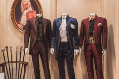 Elegant menswear on display at Si' Sposaitalia in Milan, Italy Royalty Free Stock Photography