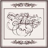 14)Elegant menu design in classic style with menu signature. Elegant menu design in classic style with menu signature decorated by flourishes Stock Illustration