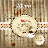 Elegant menu design with coffee elements on wood texture in vint Stock Photos