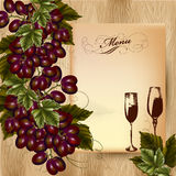 Elegant menu design for restaurant with cluster of grapes and wi Royalty Free Stock Photography