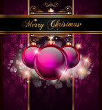 Elegant Merry Christmas background. Elegant Merry Christmas and Happy New Year background with vintage seamless wallpaper and glossy baubles Stock Photos