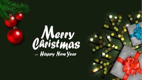 Free Elegant Merry Christmas Banner With Realistic Seasonal Decoration Elements Stock Image - 163205321