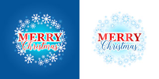 Elegant Merry Christmas card with snowflakes. Isolated Vector illustration on blue and white background. Elegant Merry Christmas card with snowflakes. Isolated Stock Photos
