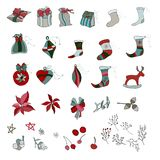 Set of ornaments for christmas. stock illustration