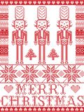 Elegant Merry Christmas Scandinavian, Nordic style winter pattern including snowflake, heart, nutcracker soldier, Christmas tree,. Snow in red, white in decor Stock Images