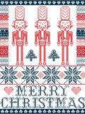 Elegant Merry Christmas Scandinavian, Nordic style winter pattern including snowflake, heart, nutcracker soldier, Christmas tree. Snow in red, white, blue in Stock Photos
