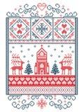 Elegant Merry Christmas Scandinavian, Nordic style winter pattern including snowflake, heart, reindeer, christmas tree, snow, snow. Flake, chapel in winter Royalty Free Stock Image