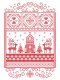 Elegant Merry Christmas Scandinavian, Nordic style winter pattern including snowflake, heart, reindeer, christmas tree, snowflakes. Elegant Merry Christmas Royalty Free Stock Images
