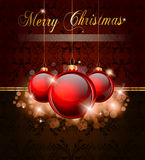 Elegant Merry Cristmas background. Elegant Merry Cristmas and Happy New Year background with vintage seamless wallpaper and glossy red baubles Royalty Free Stock Image