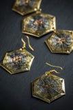 Elegant metal earrings Royalty Free Stock Image