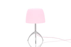 Elegant metal lamp with pink lampshade Royalty Free Stock Photos