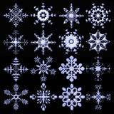 Elegant metalic snowflakes collection Stock Photography