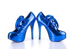 Elegant metallic blue female shoes Royalty Free Stock Photography