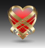 Elegant metallic heart embleme with embellishment. For creative design Stock Photos