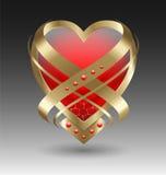 Elegant metallisk hjärtaembleme med smyckning stock illustrationer
