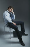 Elegant miserable man got fired Royalty Free Stock Photo