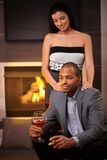 Elegant mixed race couple a home Stock Photography
