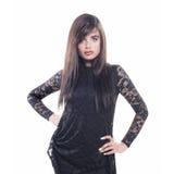 Elegant model with black dress Stock Photography
