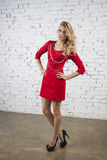 Elegant model poses  in red cocktail dress Stock Photo