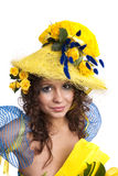 Elegant model with roses in her hat Stock Image