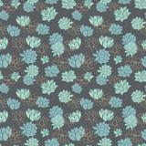 Elegant modern blue waterlilies or lotus flowers on dark grey background vector seamless pattern stock illustration