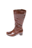 Elegant modern brown boot on a white. Stock Photos