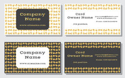 Elegant and modern business card. The refined design. A beautiful combination of gold, yellow, white and gray colors Royalty Free Stock Photo