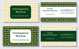 Elegant and modern business card. The refined design. A beautiful combination of gold, yellow, white and rich, deep green Stock Photos