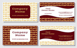 Elegant and modern business card. The refined design. A beautiful combination of gold, yellow, white and rich, deep red color Stock Photography