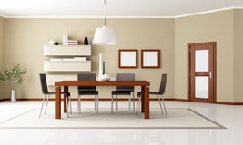 Elegant modern dining room. Beige dining room with wooden table and door - rendering Stock Image