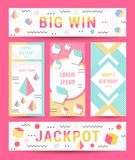 Vector Set Geometric Pattern, Flyers and Banners. Elegant modern flyers and cards with origami and geometric elements. Trendy Retro design poster, cover, card Stock Image