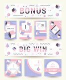 Vector Set Geometric Pattern, Flyers and Banners. Elegant modern flyers and cards with origami and geometric elements. Trendy Retro design poster, cover, card Stock Images