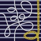 Elegant in modern vector naadloos patroon met mooie manier gouden ketens en mariene kabel op een marineblauwe achtergrond voor royalty-vrije illustratie