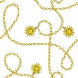 Elegant in modern vector naadloos patroon met mooie manier gouden ketens en zon op een witte achtergrond Voor textiel, royalty-vrije illustratie