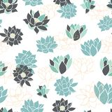 Elegant modern waterlilies or lotus flowers seamless pattern background texture in grey and blue scheme color. Vector stock illustration