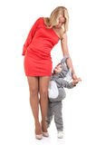 Elegant mom and baby dress as elephant Stock Image