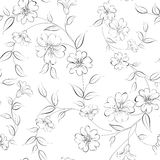 Elegant monochrome flowers fabric. Royalty Free Stock Photo