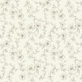 Elegant monochrome flowers fabric. Royalty Free Stock Image
