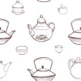 Elegant monochrome seamless pattern with traditional Japanese tea ceremony tools hand drawn with contour lines on white. Background - teapot, cups or bowls Royalty Free Stock Photo