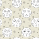 Elegant moon seamless pattern. Exquisite and retro style Stock Photography