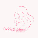 Elegant mother and baby silhouette in a linear sketch style Stock Photography