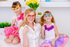 Elegant mother with daughters Royalty Free Stock Image