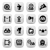 Movie icon set. Elegant Movie Icons Set Created For Mobile, Web And Applications Royalty Free Stock Photos