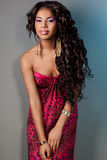 Elegant mulatto girl. With long hair Royalty Free Stock Image