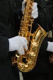 Elegant musician in white gloves. Stock Photography